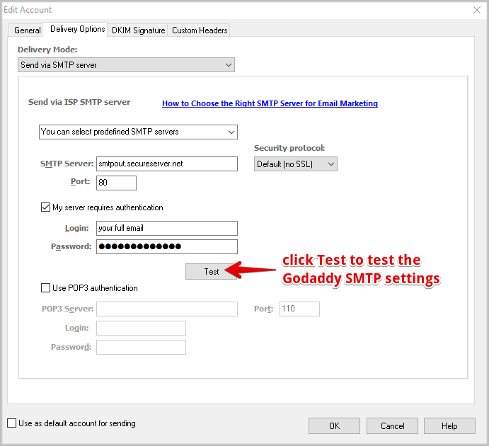 How to Use GoDaddy Email Settings in EasyMail7 ⋆ GLOCKSOFT KB
