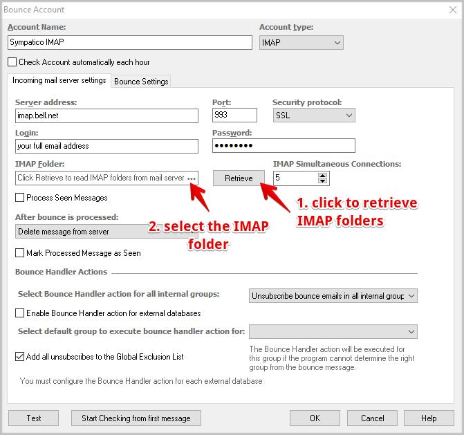 Bellnet email settings